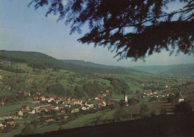 Postkartenansicht: Blick von oberhalb der Hub ins Dorf.