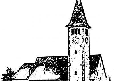 Diese Skizze unserer Dorfkirche St. Johannes wurde im Jahre 2004 anlässlich der Bürgermeisterwahl angefertigt.