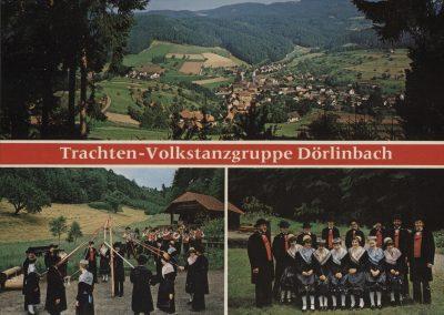 Die Postkarte des Musikvereins Trachtenkapelle Dörlinbach zeigt unten rechts deren Trachten- und Volkstanzgruppe, links zusammen mit der Trachtenkapelle.