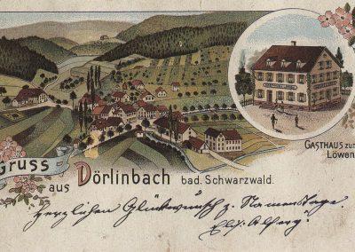 Die alte Karte zeigt den Ortskern als Lithographie. Das Gasthaus Löwen ist gesondert dargestellt.