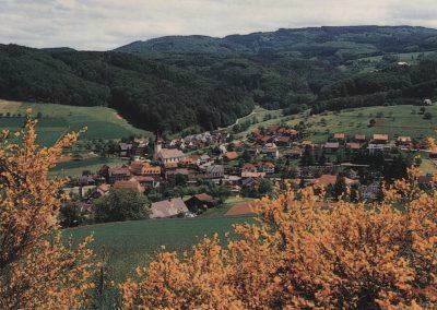 Die Postkarte gewährt einen Blick vom Oberrain runter in den Ort.