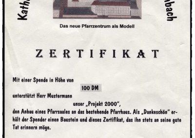 Das Muster-Zertifikat für die Spender.