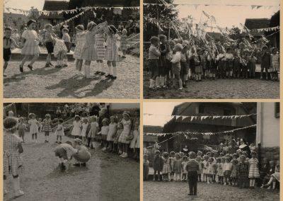 Collage Sommerfeste in der Kinderschule, der heutigen Kindertagesstätte St. Angela, aus den Jahren 1958 bis 1960.