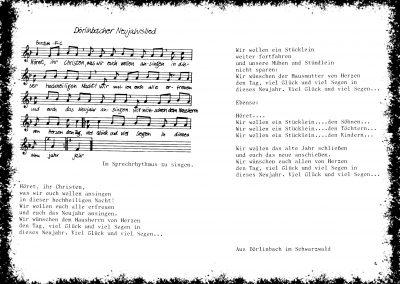 """Einzigartig: """"Höret, ihr Christen"""" – das Dörlinbacher Neujahrslied; drei Strophen, Tonart F."""
