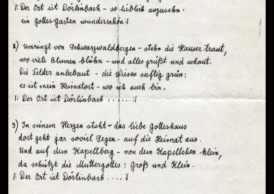 """etextet wurde das Lied """"Unsere Heimat Dörlinbach"""" (Melodie: Tief im Böhmerwald) von der in Dörlinbach geborenen Schönstätter Marienschwester Maria Fiatis Schätzle anlässlich ihres letzten Heimatbesuches im Jahre 1985."""