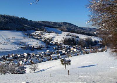 Winter-Impressionen im Januar 2021: Blick von oberhalb der Kapelle runter ins Dorf.