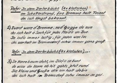 """Bei der Narrenzunft in Dörlinbach kursieren in den 1980er-Jahren gleich mehrere Fasentslieder. Hier der Originalentwurf zu """"Tief im Schuttertal, liegt das Bremmedörfli Derlerbach""""."""