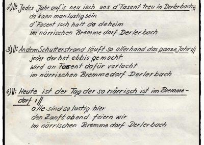 """ei der Narrenzunft in Dörlinbach kursieren in den 1980er-Jahren gleich mehrere Fasentslieder. Hier der Originalentwurf zu """"In dem Derlerbächli am Schutterstrand""""."""