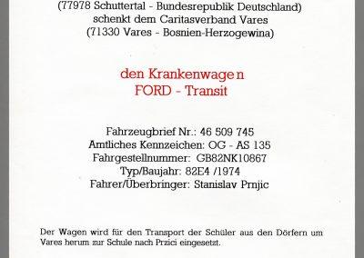 Schenkungsurkunde: Das Deutsche Rote Kreuz, Orstverein Schuttertal,