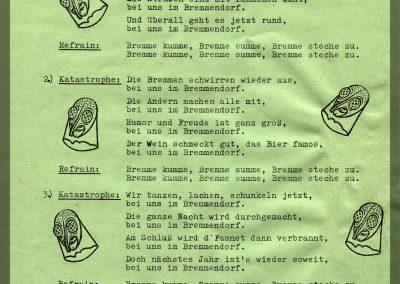 Das erste von zwei Narrenliedern, die bei der Bremsdorfer Narrenzunft geschrieben wurden.