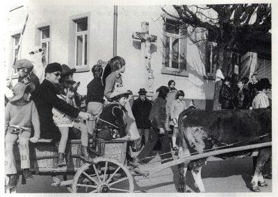 Fasent anno dazumals: Bei den Umzügen durchs Dorf waren auch immer wieder Ochsengespanne dabei.