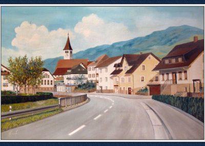 Blick durch die Hauptstraße von Schweighausen her kommend. Gemälde von Heimat- und Hobbymaler Hans Busch.