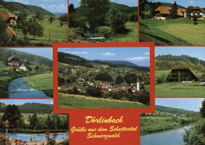 Die Schwarzwald-Grußkarte des Lebensmittelgeschäfts Griesbaum zeigt verschiedene Blickfänge des oberen Schuttertals