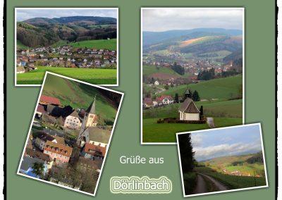 Postkarte von 2019 mit Ansichten vom Oberrain und vom Kappelberg ins Dorf.