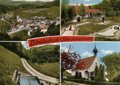 Die Ansichtskarte gewährt einen Blick auf den Dorfkern von Dörlinbach (links oben), auf die Minigolfanlage (rechts oben), auf die Wassertredbad-Anlage in der Ruhl (links unten) sowie die Gedächtniskapelle auf dem Kappelberg (rechts oben).
