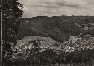 Eine alte Postkartenansicht vom Dorfkern Dörlinbachs sowie dem Neudorf.