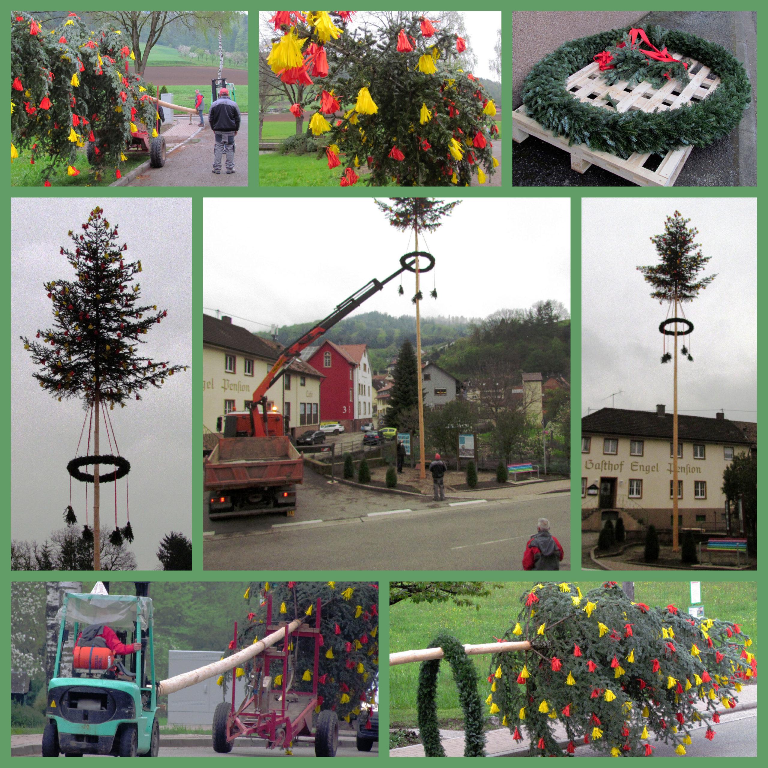 Die Collage gibt einen kleinen Überblick vom Maibaumstellen 2021 am Vorabend zum 1. Mai-Feiertag.