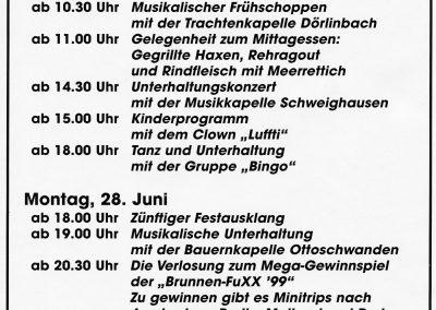 """Historisch: Ein Werbeplakat des einzigen """"Brunnendorf-Festes"""" das im Juni 1999 auf dem Ziegelhüttenplatz stattgefunden hatte."""