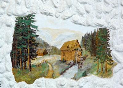 Wandmalereien waren in Dörlinbach im letzten Jahrhundert sehr beliebt. Heute findet man noch an einigen Gebäuden solche Malereien wie hier an einem Privathaus in der Brandhalde.