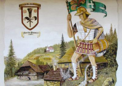 Wandmalereien waren in Dörlinbach im letzten Jahrhundert sehr beliebt. Heute findet man noch an einigen Gebäuden solche Malereien wie hier an einem Privathaus am Kappelberg.