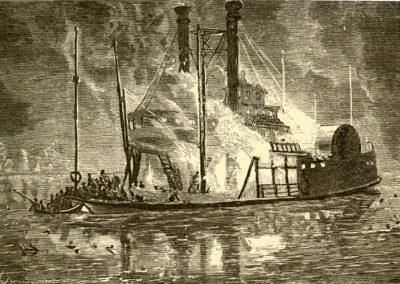 Zeichnungen und Lithografien vom Schiffsbrand auf dem Eriesee.