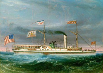 """Ölgemälde vom Dampfschiff """"Erie"""". Vermutlich aus dem Jahre 1837."""