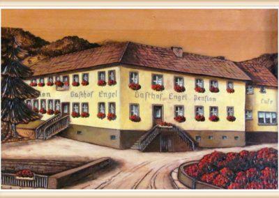 """Ein Gast und Hobbymaler aus Steinach malte dieses Bild vom Gasthof """"Engel"""" Ende der 1970er-Jahre. Das Gemälde befindet sich heute noch im Gastraum der Wirtschaft."""