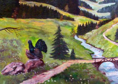 """Ausschnitte des Wandgemäldes im """"Engel""""-Saal, geschaffen von Hans Busch Ende März / Anfang April 1983."""