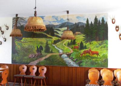 """Wandgemälde von Hans Busch – April 1983 – Saal-Rückwand im Gasthaus """"Engel"""""""