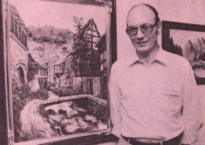 August 1998: Hobbykünstler Hans Busch stellt seine Ölgemälde – überwiegend Landschaftsmotive und Kleinode – in seiner alten Heimat Wyhl aus.